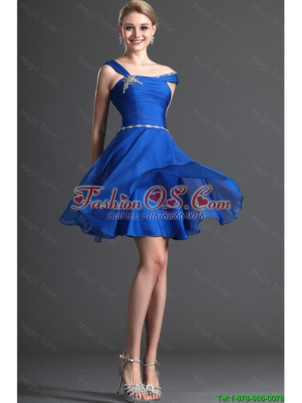 Discount Straps Beading Royal Blue Short Prom Dresses for 2016