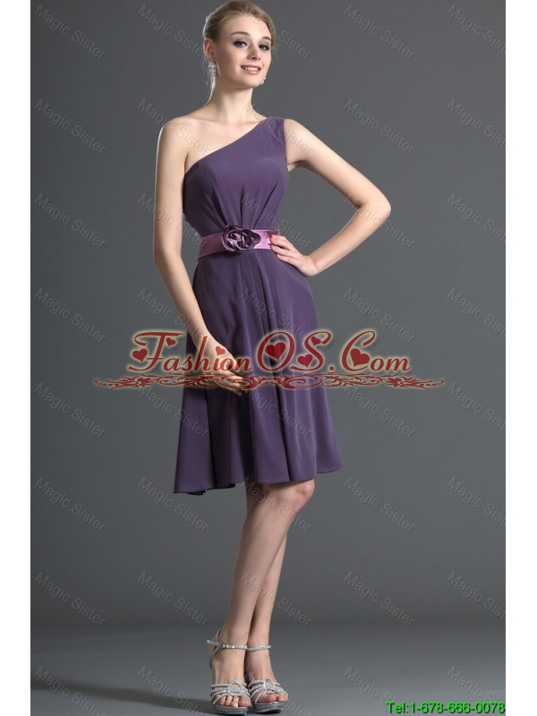 Most Popular Belt and Hand Made Flower Purple Prom Dresses for 2016
