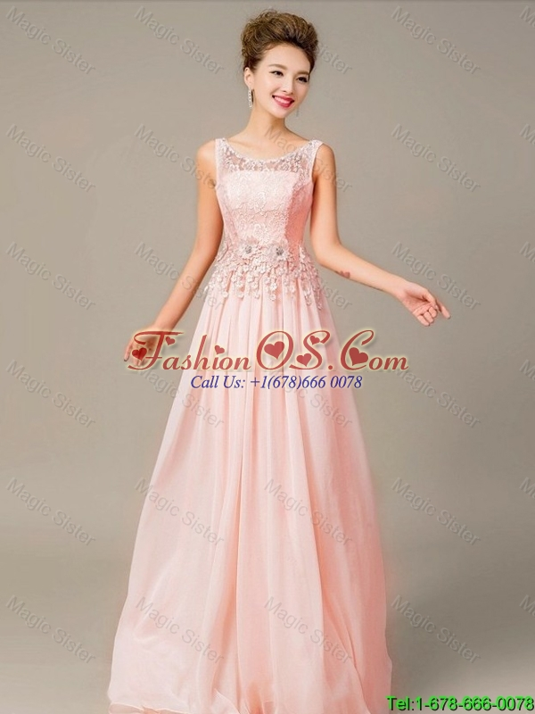 Perfect 2016 Appliques and Laced Prom Dresses with Lace Up