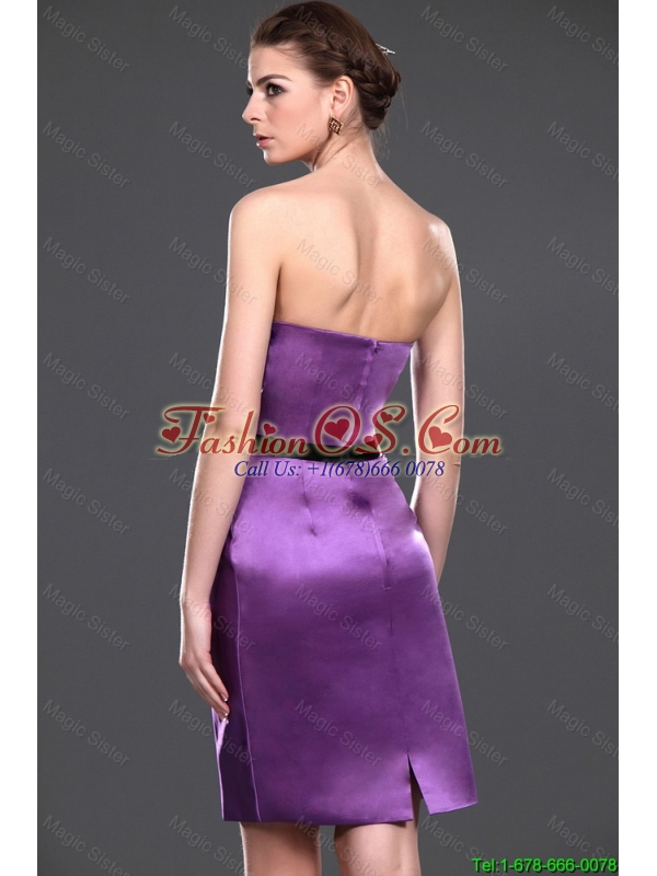 Popular Eggplant Purple Short Prom Dress with Belt and Bowknot