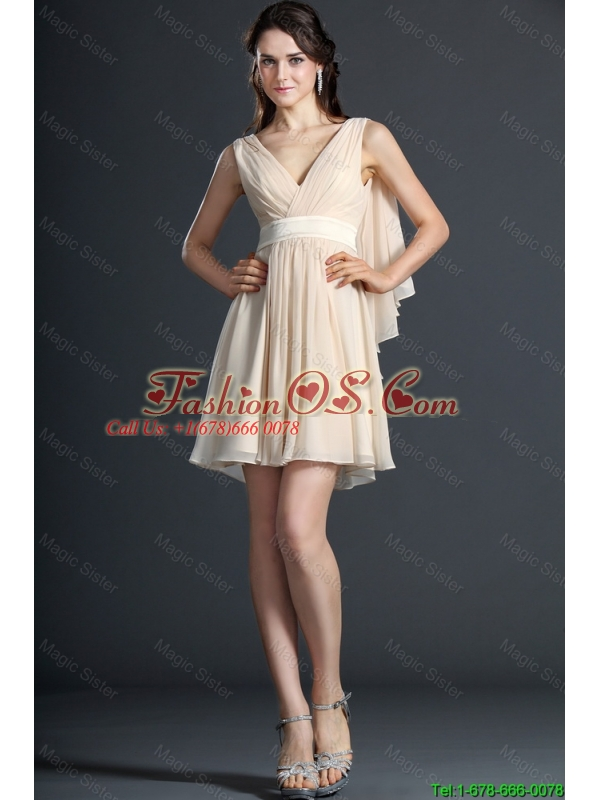 Wonderful Ruching and Belt Champagne Short Prom Dresses for 2016