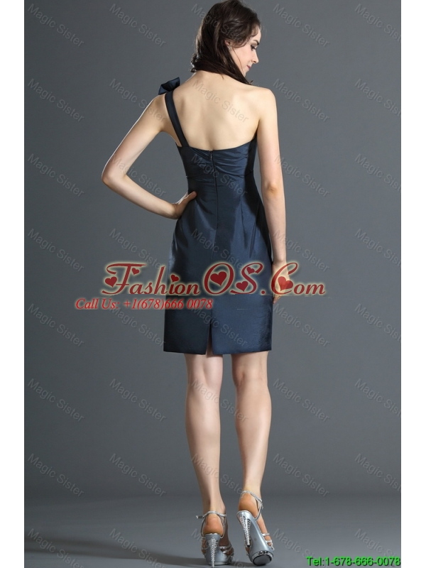2016 Wonderful One Shoulde Bowknot Short Navy Blue Prom Dress