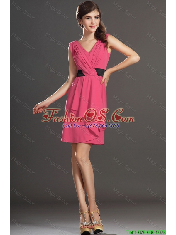 Wonderful Short V Neck Ruching and Belt Prom Dresses