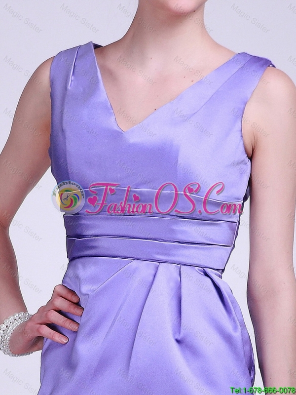2016 Modern V Neck Short Lavender Prom Dresses with Ruching