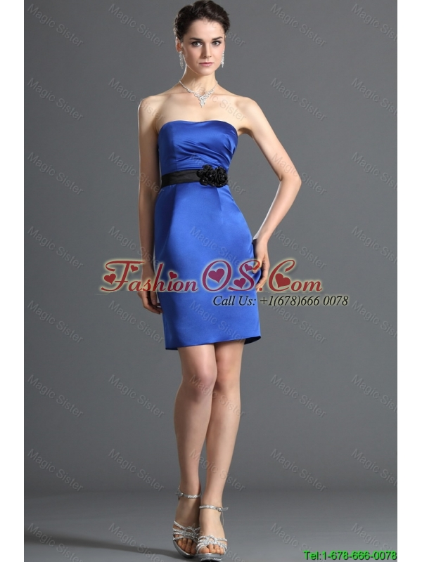 Comfortable Belt and Hand Made Flower Short Prom Dress