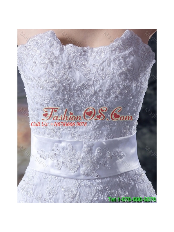 Custom Made Mermaid Strapless Lace Wedding Dresses with Appliques