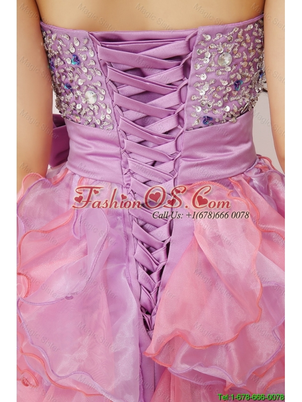 Pretty Sweetheart Bowknot and Beaded Short Prom Gowns in Multi Color