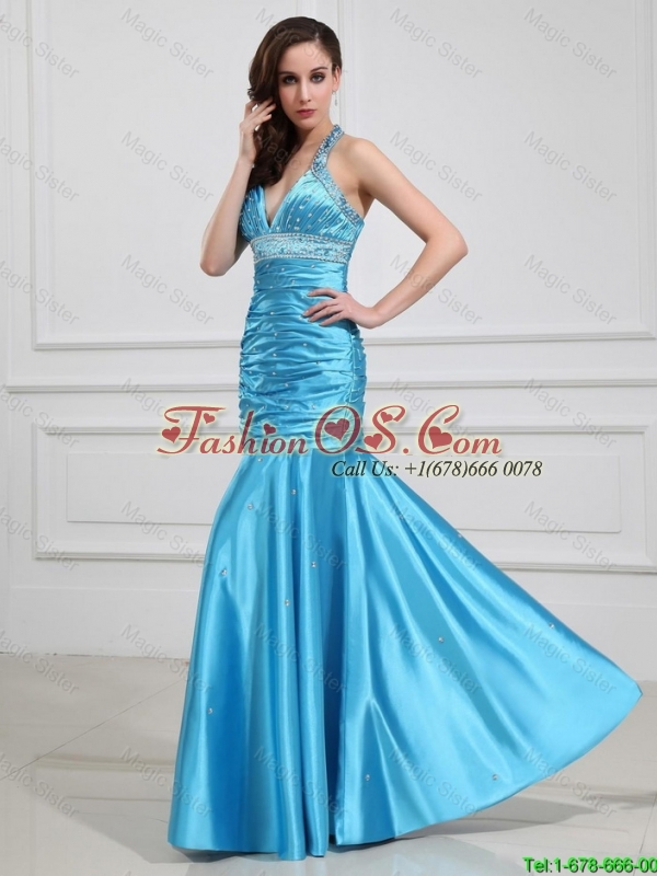 Sweet Mermaid Halter Top Prom Dresses with Beading in Baby Blue