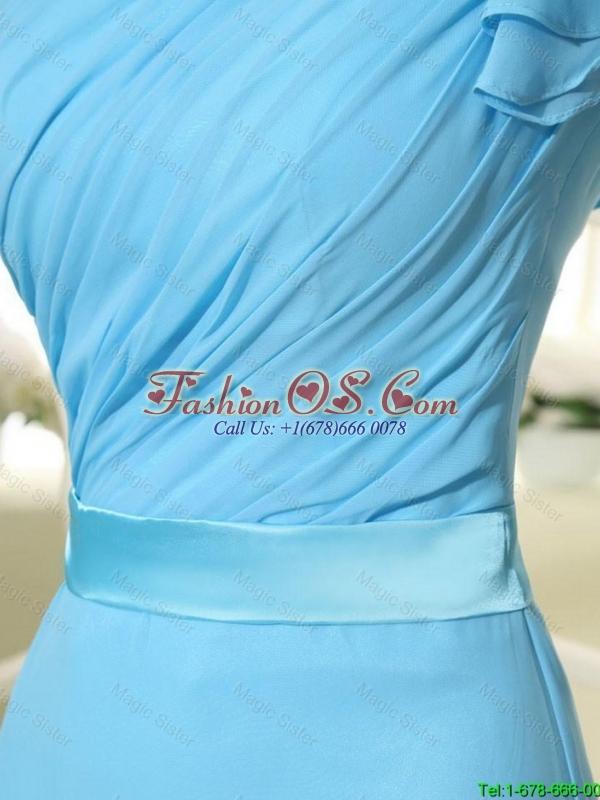Wonderful One Shoulder Belt and Ruffles Aqua Blue Long Prom Dresses