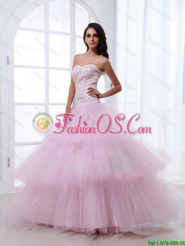Wonderful Sweetheart Baby Pink Prom Dresses with Sequins and Ruffled Layers 2016