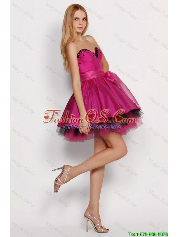 2016 Junior A Line Sweetheart Prom Dresses with Sashes in Fuchsia