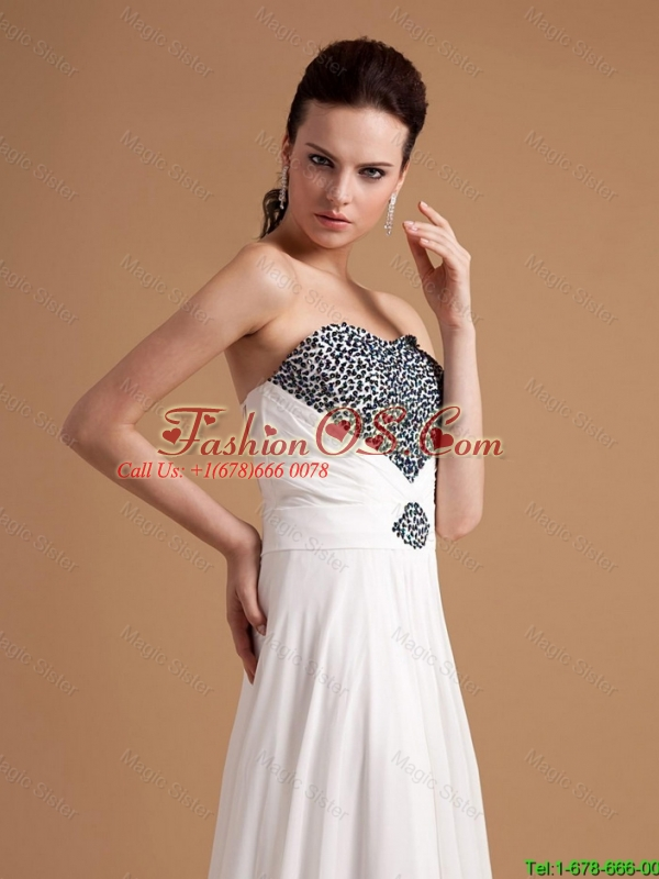 Junior Sweep Train Beading Prom Dresses in White