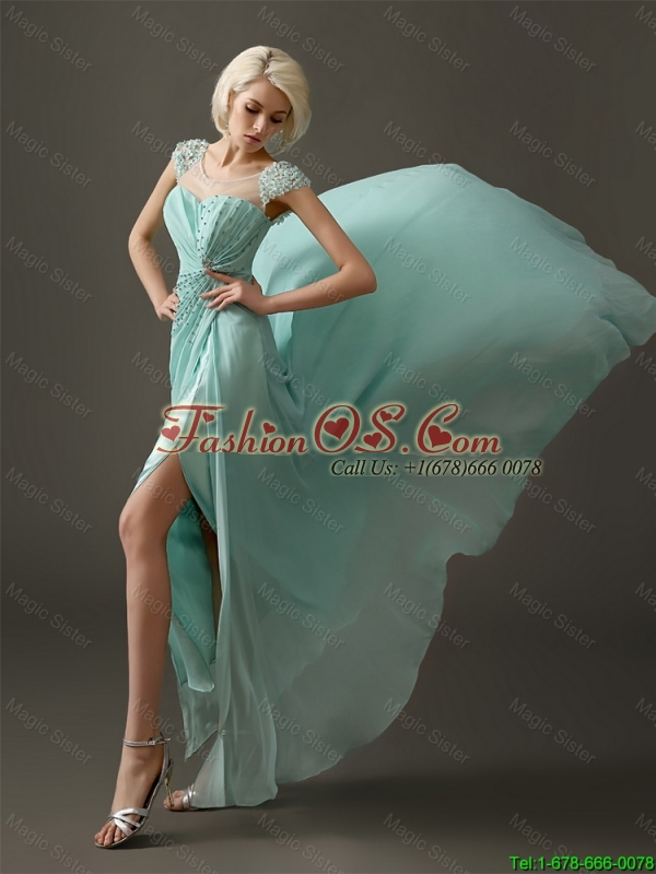 Gorgeous Cap Sleeves Prom Dresses with Beading and Appliques