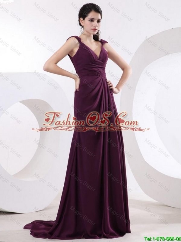 New Arrivals Straps Brush Train Long Purple Prom Dresses with High Slit