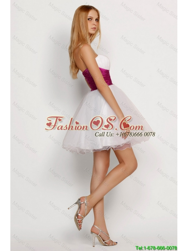 New Arrivals White Princess Short Prom Dresses with Beading and Belt