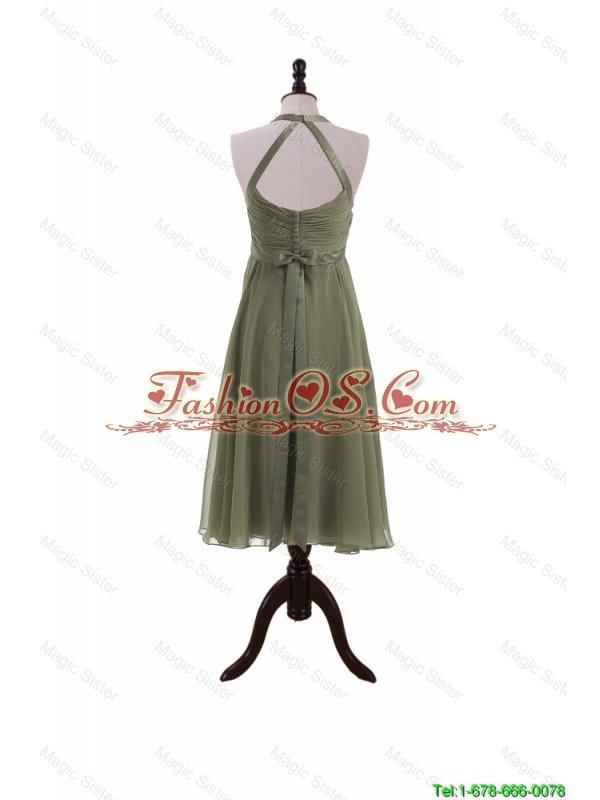 Pretty Simple Belt Halter Top Short Prom Dresses in Olive Green