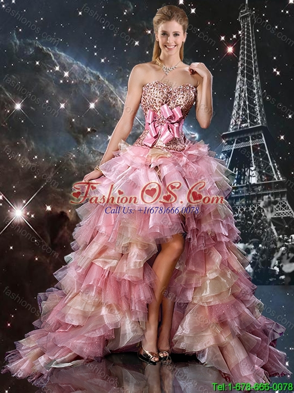 Ball Gown Beaded Detachable Sweet 16 Dresses with Belt