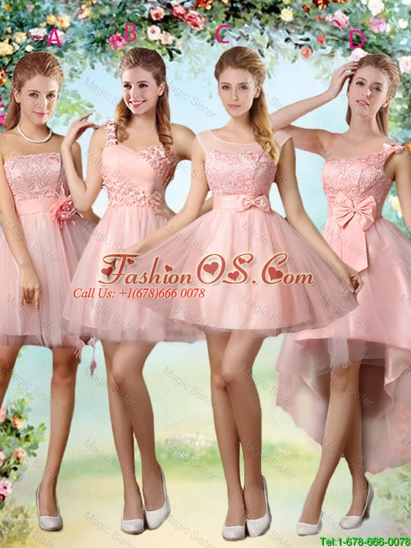 Beautiful Strapless Laced Bridesmaid Dresses with Hand Made Flowers