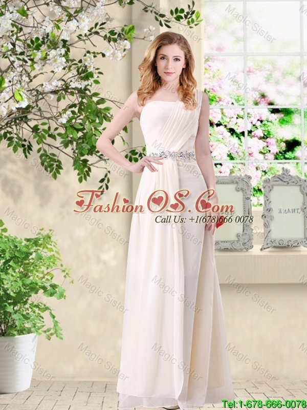 Discount Empire One Shoulder Champagne Bridesmaid Dresses with Belt
