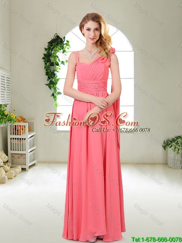 Elegant Strapless Bridesmaid Dresses in Watermelon Red