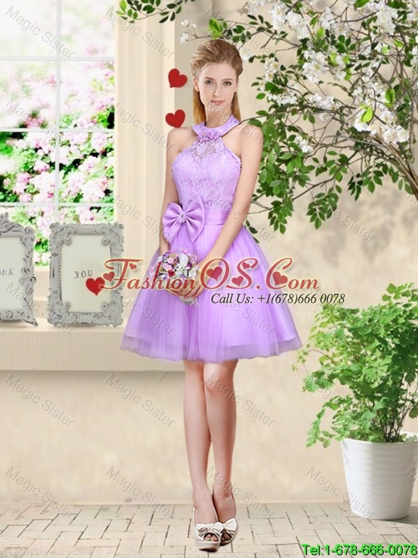 Sophisticated A Line Lavender Bridesmaid Dresses with Lace and Bowknot