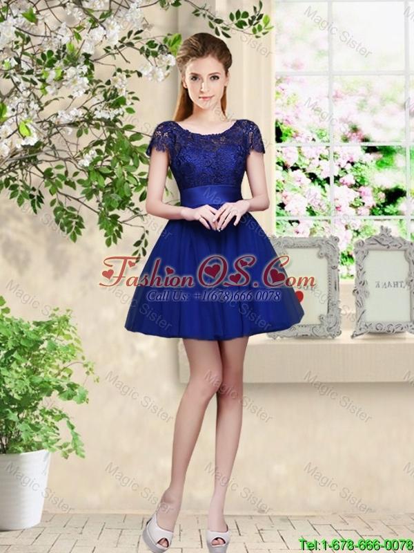 Sturning Bateau Short Royal Blue Bridesmaid Dresses with Cap Sleeves