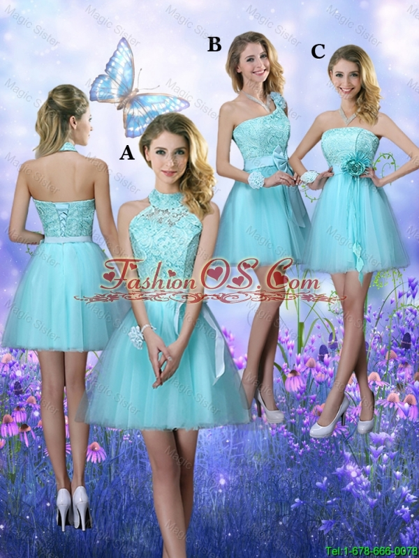Elegant Halter Top Laced Bridesmaid Dresses with Appliques