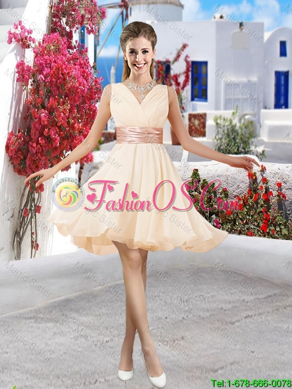New Style 2016 Pink Bridesmaid Dresses with Belt
