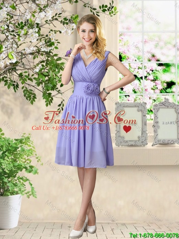 Simple 2016 Straps Hand Made Flowers Bridesmaid Dresses
