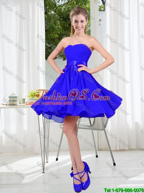 Elegant A Line Sweetheart Prom Dresses in Royal Blue