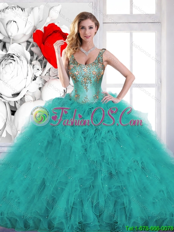 Gorgeous Beading Scoop Teal Quinceanera Dresses with Ruffles