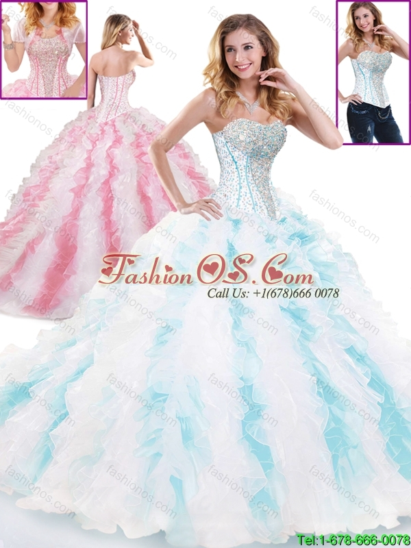 2016 Spring Popular Sweetheart Brush Train Sweet 16 Gowns in Multi Color