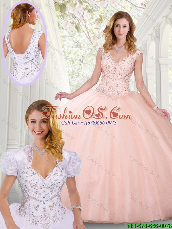 Best Selling Ball Gown Beading Quinceanera Gown with V Neck