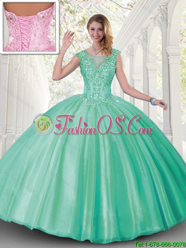 Discount Ball Gown Scoop Sweet 16 Dresses with Cap Sleeves