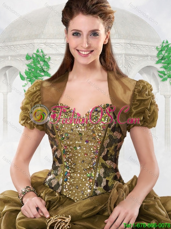 Gorgeous Olive Green Sweetheart Quinceanera Gowns with Court Train