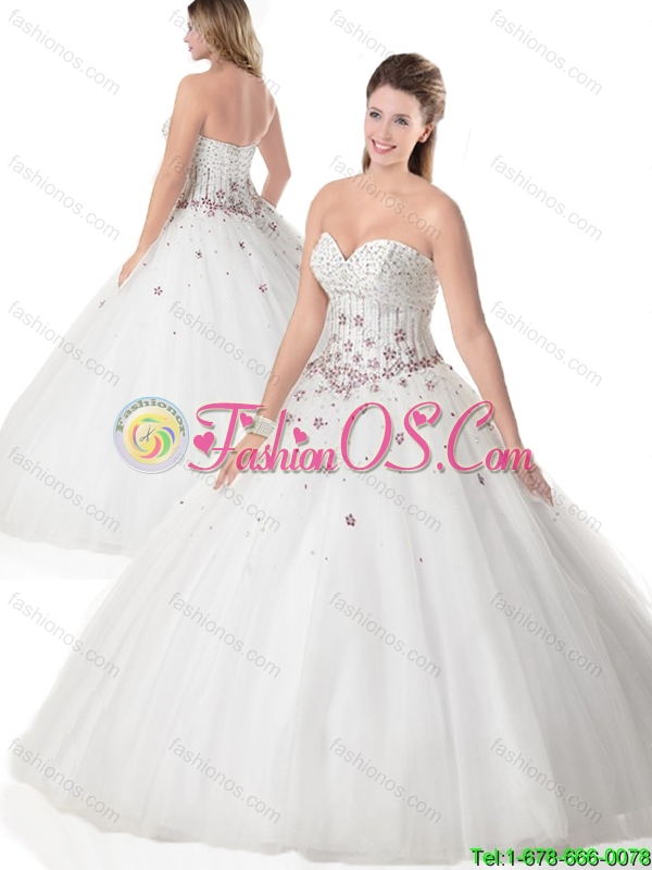 Popular Beading and Appliques Quinceanera Dresses in White