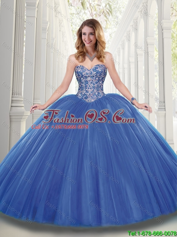 Beautiful Blue Ball Gown Quinceanera Dresses with Beading- $236.52