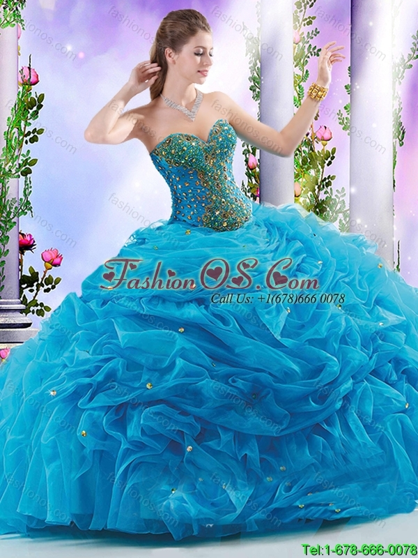 Classical Sweetheart Beading Quinceanera Gowns with Court Train