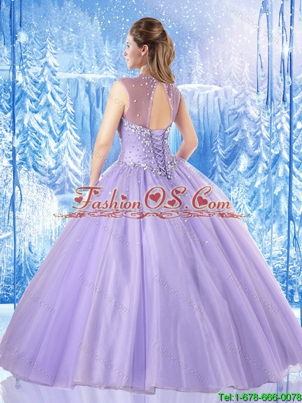 Fashionable Scoop Beading Quinceanera Dresses in Lavender