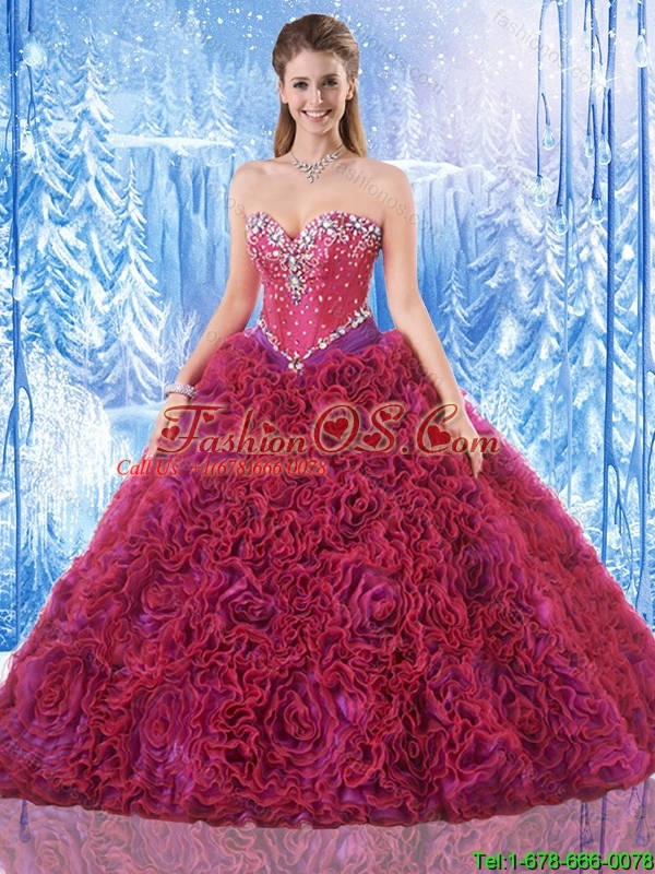 Gorgeous Ball Gown Quinceanera Dresses with Rolling Flowers