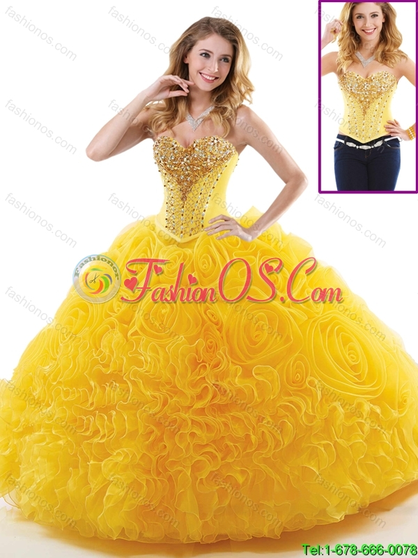 New Style Beading Sweet 16 Dresses with Rolling Flowers
