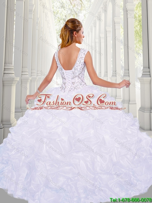 Perfect Beading V Neck Quinceanera Gowns with Pick Ups