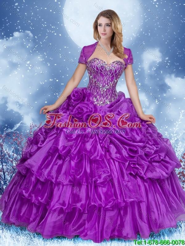 2016 Beautiful Purple Sweet 16 Dresses with Ruffled Layers