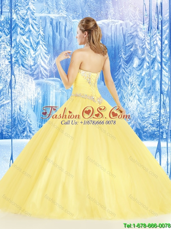 Unique Yellow Sweetheart Quinceanera Dresses with Beading