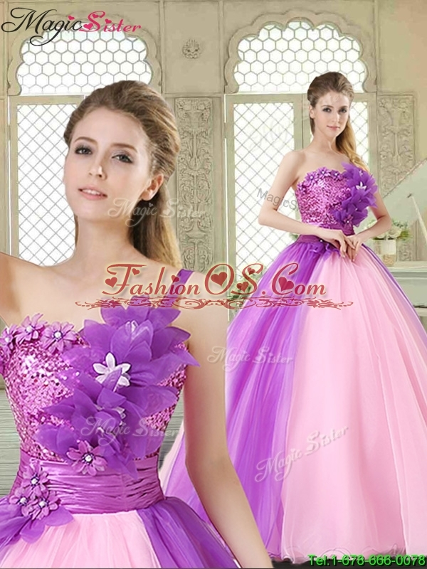 2016 Spring Elegant Hand Made Flowers Sweetheart Quinceanera Dresses in Multi Color