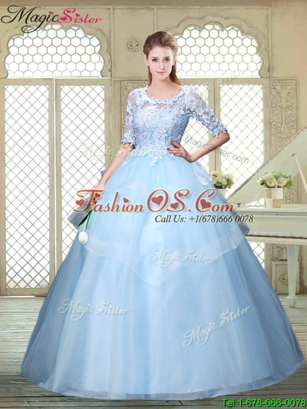 2016 Spring Hot Sale Half Sleeves Scoop Quinceanera Dresses with Lace