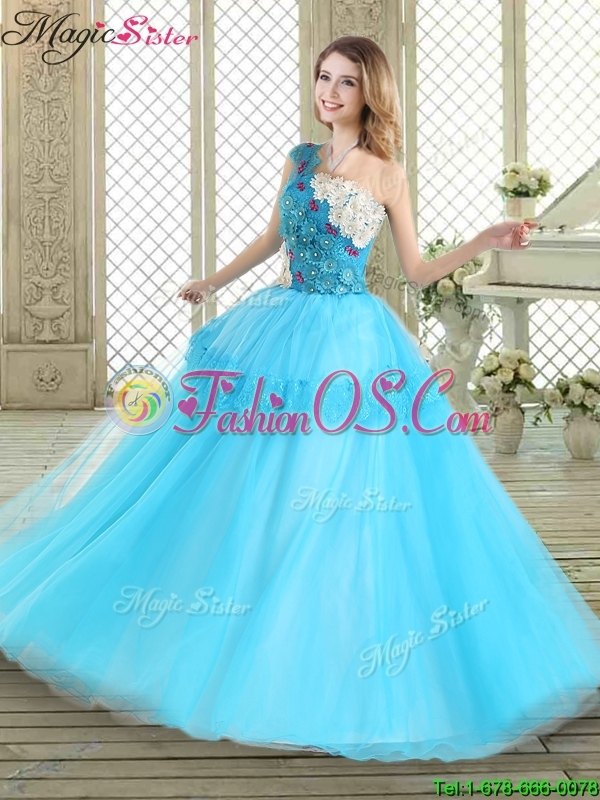 Beautiful One Shoulder Quinceanera Dresses with Lace and Appliques