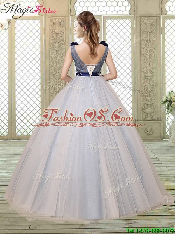 Pretty Champagne Straps Quinceanera Gowns with Belt and Appliques