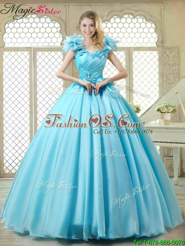 Cheap Aqua Blue Quinceanera Gowns with Appliques and Ruffles
