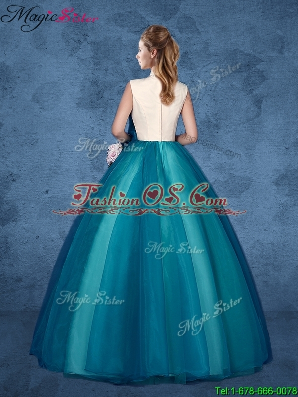 Cheap Hand Made Flowers Quinceanera Dresses with High Neck